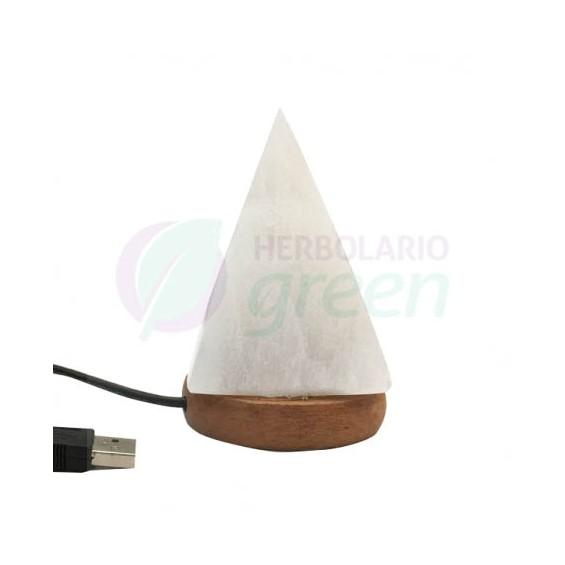 Lámpara cristal Selenita usb piramide
