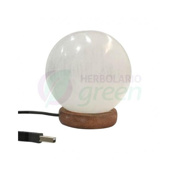 Lampara cristal Selenita usb esfera
